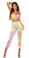 cosmodacollection Sexy matching-set met watercolor print geel