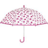 Playshoes kinderparaplu Hartjes meisjes 70 cm transparant/roze