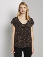 Tom Tailor Gedessineerde Tuniek Blouse met korte mouwen, black red flower print