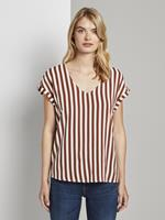 Tom Tailor Gedessineerde Tuniek Blouse met korte mouwen, rust white vertical stripe