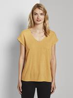 Tom Tailor Gedessineerde Tuniek Blouse met korte mouwen, yellow white dot