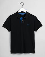 Poloshirt Zwart Pique Blauw Contrast Rugger Regular Fit