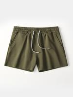 newchic Loose Pure Color Cotton Breathable Wicking Gym Running Sport Pocket Shorts