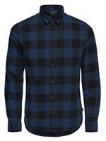 Only & Sons Geruit Overhemd Met Lange Mouwen Heren Blauw