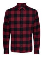 Only & Sons Geruit Overhemd Met Lange Mouwen Heren Rood