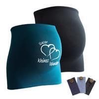 Mamaband Buikband 2-pack Onze kleine wonder + 3-pack broek uitbreiding zwart / 3-pack broek van de band. petrol