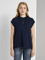 Tom Tailor Speelse blouse met korte mouwen en ruches, Real Navy Blue