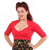 fiftiesstore Doris Blouse, Rood