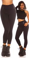 Trendy hoge taille thermo treggins navy