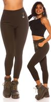 cosmodacollection Trendy hoge taille thermo treggins khaki