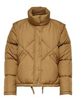 Detailed Quilted Jacket Dames Bruin