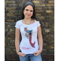 fiftiesstore Ed Hardy Phoenix And Flowers Dames T-shirt