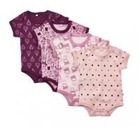 Pippi rompers korte mouw meisjes katoen roze/paars 4 stuks mt 74