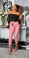 cosmodacollection Trendy hoge taille lederlook broek roze