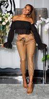 cosmodacollection Trendy hoge taille lederlook broek bruin