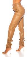 cosmodacollection Trendy hoge taille broek leder- look bruin