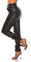 cosmodacollection Trendy hoge taille broek leder- look zwart
