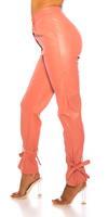 cosmodacollection Trendy hoge taille broek leder- look roze