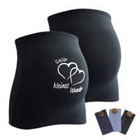 Mamaband Buikband 2-pack Onze kleine wonder + 3-pack broek uitbreiding zwart