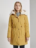 Tom Tailor Parka met Teddy Bontkraag, Indian Spice Yellow