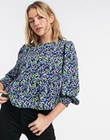 New Look - Peplum blouse in blauwe bloemenprint