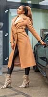 cosmodacollection Trendy lange mantel met riem bruin
