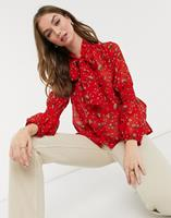 New Look - Blouse met gestrikte hals in rode bloemenprint-Rood