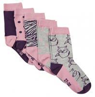 Minymo sokken met print meisjes katoen paars 5 paar  30