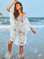 Zaful V Neck Embroidered Mesh Kaftan Dress