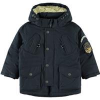 NAME IT MINI winterjas Mack met patches donkerblauw