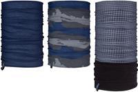 Avento sjaal Active heren polyester/fleece blauw/grijs 3 stuks