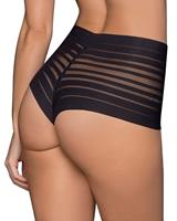leonisa Lace Stripe High-Waisted Cheeky Hipster  | Black
