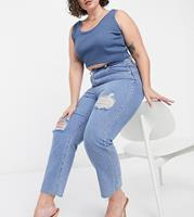 inthestyle In The Style Plus x Shaughna - Distressed denim jeans met rechte pijpen in middenblauw