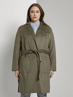 TOM TAILOR MY TRUE ME Trenchcoat in velours look, Olive Night Green