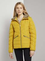 TOM TAILOR Bufferjack met afneembare bontkraag, california sand yellow