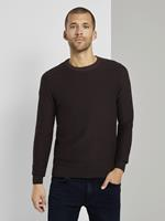 TOM TAILOR Basic Pullover met gestreept patroon, Dusty Wildberry Red