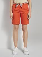 TOM TAILOR Relaxed Chino Bermuda Shorts met Stoffen Riem, strong flame orange