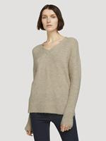 TOM TAILOR DENIM Trui met V-hals, cozy beige melange