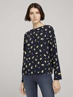 TOM TAILOR DENIM Losse blouse met knoopsluiting, navy flower alloverprint
