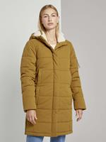 TOM TAILOR DENIM Lange puffer jas met teddy voering, warm curry yellow