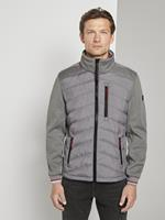 TOM TAILOR Hybride jas met afneembare capuchon, Medium Silver Grey