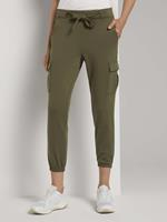 TOM TAILOR DENIM Cargo broek met band, deep olive green