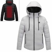 Mannen en vrouwen Intelligente constante temperatuur USB-verwarming Katoenen kleding met capuchon Warme jas (kleur: lichtgrijs Maat: 7XL)