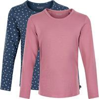 Minymo - Kid's Basic 35 T-Shirt L/S (2-Pack) - Longsleeve, roze/blauw/grijs