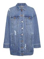 Noisy May Long Destroyed Denim Jacket Dames Blauw