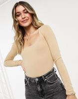missselfridge Miss Selfridge - Body met vierkante hals in lichtbeige