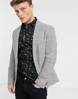 mossbros Moss London - Slim fit colbert in zwart met wit ruitje