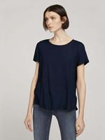 Tom Tailor Denim Blouse met korte mouwen en rits, Sky Captain Blue