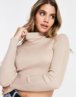 Missguided - Gebreide coltrui in zandkleur-Beige