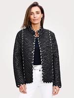 Mona Doorgestikte jas  Zwart::Wit